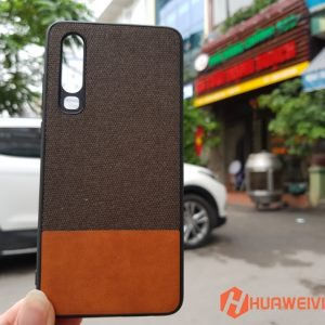 Ốp lưng Huawei P30 vải 3 lớp màu nâu